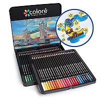 Цветные карандаши для рисования в железной коробке 48 шт