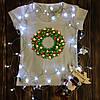 Жіноча футболка з принтом - Різдвяний вінок XS