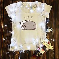 Женская футболка  с принтом - Пушин Кэт Sleep