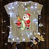 Женская футболка  с принтом - Дед мороз и олень пишут список