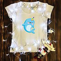 Женская футболка  с принтом - Дельфинорог