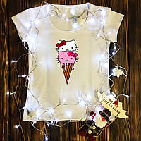 Женская футболка  с принтом - Мороженое Хеллоу Китти