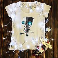 Женская футболка  с принтом - Робот