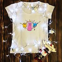 Женская футболка  с принтом - Финн, Джейк и принцесса Бубльгум