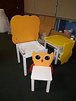 Детский столик с открывающейся столешницей и 1 стульчик Совушка, детский комплект
