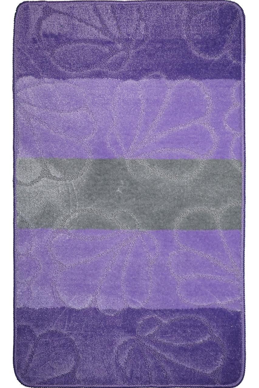 """Набір килимків для ванної, 60х100 + 60х50см. """"Смужки"""", колір бузковий"""