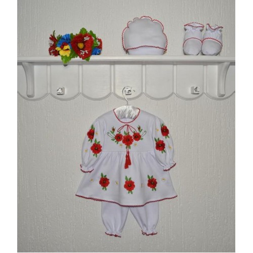 Детский комплект вышиванка с платьем Маки Размер 62 см, 68 см