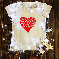 Жіноча футболка з принтом - Серце з сердечок XS