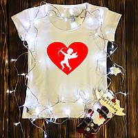 Жіноча футболка з принтом - Купідон білий XS