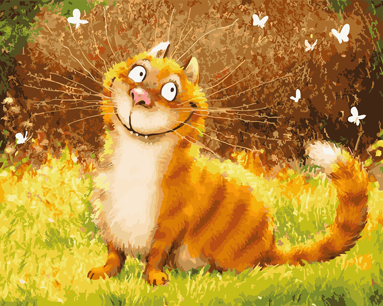 Картина по номерам 40х50см. gx5587 Улыбка кота Rainbow