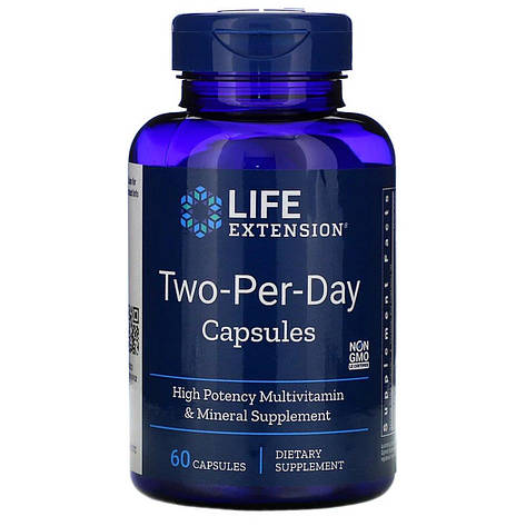 Мультивитамины Дважды в День, Two-Per-Day, Life Extension, 60 капсул, фото 2