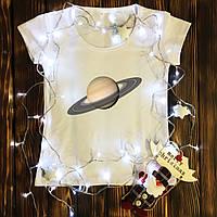 Женская футболка  с принтом - Сатурн