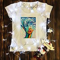 Женская футболка  с принтом - Девушка Волна