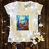 Женская футболка  с принтом - Оптическая иллюзия
