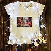 Женская футболка  с принтом - Пасмурный Париж