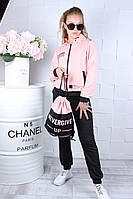 Спортивний костюм чорні штани і рожева кофта з рюкзаком