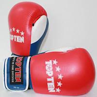 """Боксерские перчатки TopTen """"FIGHT Tricolor"""" 10 oz Красный"""