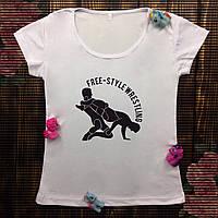 Женская футболка  с принтом - Борьба