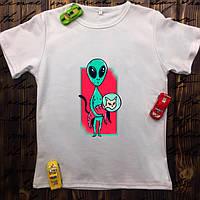 Мужская футболка с принтом - Кот с НЛО