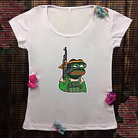 Женская футболка  с принтом - Лягушка Пепе терорист