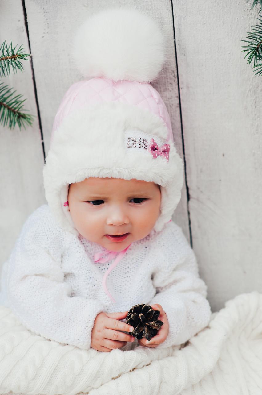 Детская зимняя шапка для девочек ФРОСТИ (розовый) оптом размер 44-46-48 d204b31c5a25f