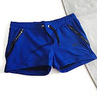 Шорты женские короткие синие с замками-молниями на карманах
