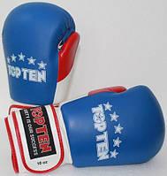 """Боксерские перчатки TopTen """"FIGHT Tricolor"""" 10 oz Синий"""
