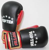 """Боксерские перчатки TopTen """"FIGHT Tricolor"""" 10 oz Черный"""