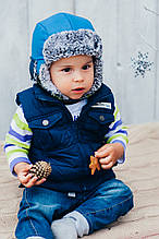Детская шапка зимняя (набор) для мальчиков ДАК (синий) оптом размер 44-46-48