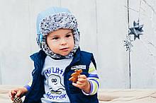 Детская шапка зимняя (набор) для мальчиков ДАК (голубой) оптом размер 44-46-48