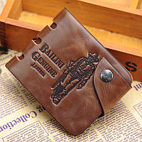 Мужской кошелек. Кожаный бумажник Bailini Ковбой без прорезей