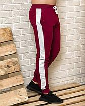 Бордовые мужские спортивные штаны с белыми лампасами весна-осень