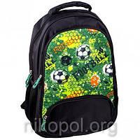 """Рюкзак школьный California """"M"""" Зеленый с мячами Football, ортопедический, 42х29х16см."""
