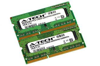 Оперативная память для ноутбука A-Tech DDR3 8GB (2x4GB) PC3-12800S 1600MHz SODIMM (б/у)