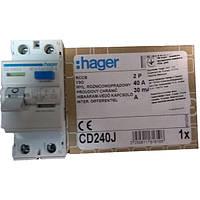 УЗО 2 полюса 40А 30мА тип А CD240J Hager