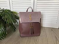 Женский рюкзак-сумка темная пудра эко кожа и замш