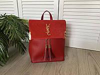 Женский рюкзак-сумка красная эко кожа и натуральный замш