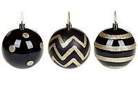 """Елочный шар 8 см """"Золотые линии"""", 3 вида, цвет черный, материал пластик, набор 12 шт"""