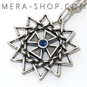 Звезда Эрцгаммы с сапфиром синим двухсторонняя подвеска - амулет из серебра 925 пробы (30 мм, 5.3 г)