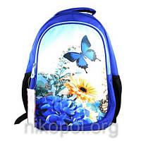"""Рюкзак школьный California """"M"""" Синие цветы и бабочка, ортопедический, 42х29х16см."""