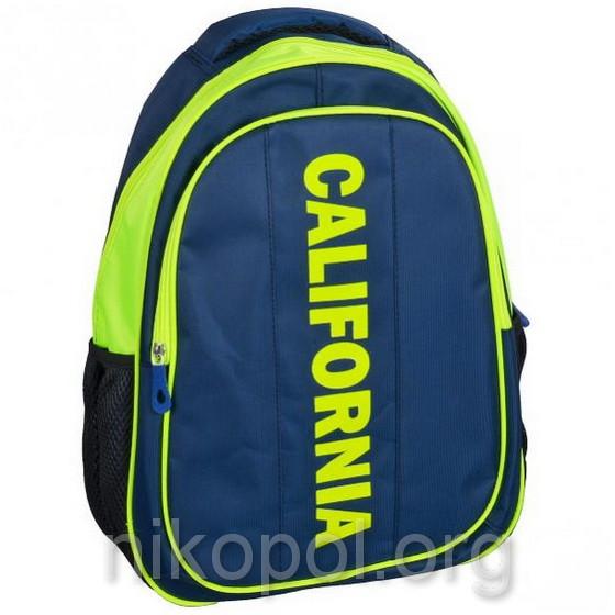 """Рюкзак школьный California """"M"""" Калифорния синий с салатовым, ортопедический, 42х29х16см."""