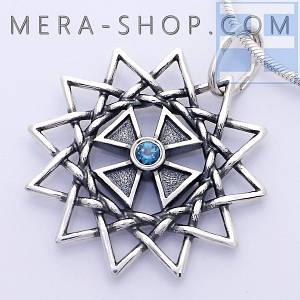 Звезда Эрцгаммы с топазом синим двухсторонняя подвеска - амулет из серебра 925 пробы (30 мм, 5.3 г)