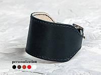 Черный широкий прошитый кожаный браслет 6320ст (Ручная работа)