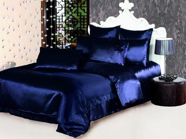 """Атласное постельное белье темно-синее в размерах """"Темная ночь"""" Евро размер, наволочки 70х70см или 50х70 см"""