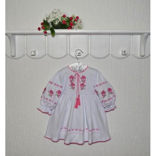 Белое платье с вышивкой для девочки Розы Размер 86 см, 92 см
