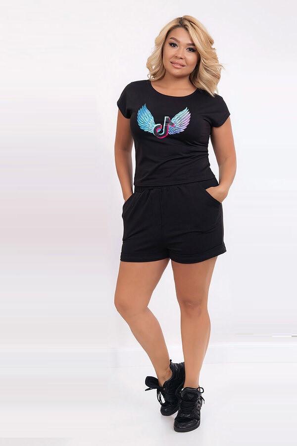 Костюм для отдыха футболка и шорты 6293 (42–50) в расцветках