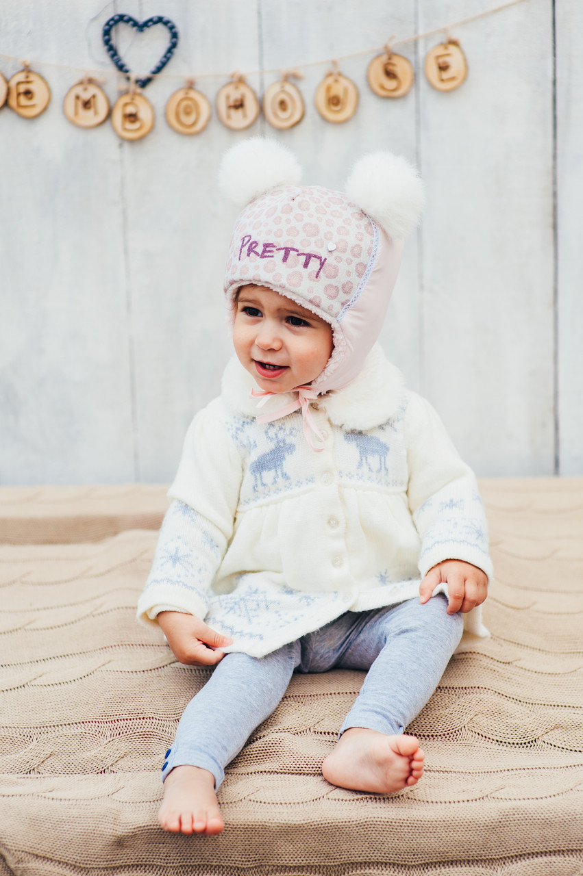 Детская зимняя шапка (набор) для девочек ЛУНА  оптом размер 46-48