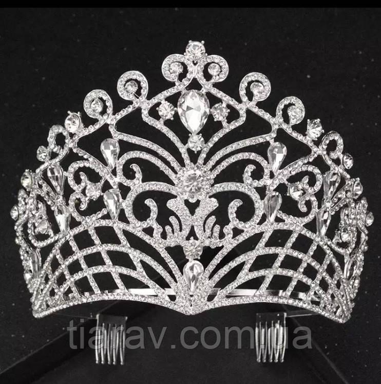 Корона высокая тиара диадема ,на гребешках, весiльна дiадема