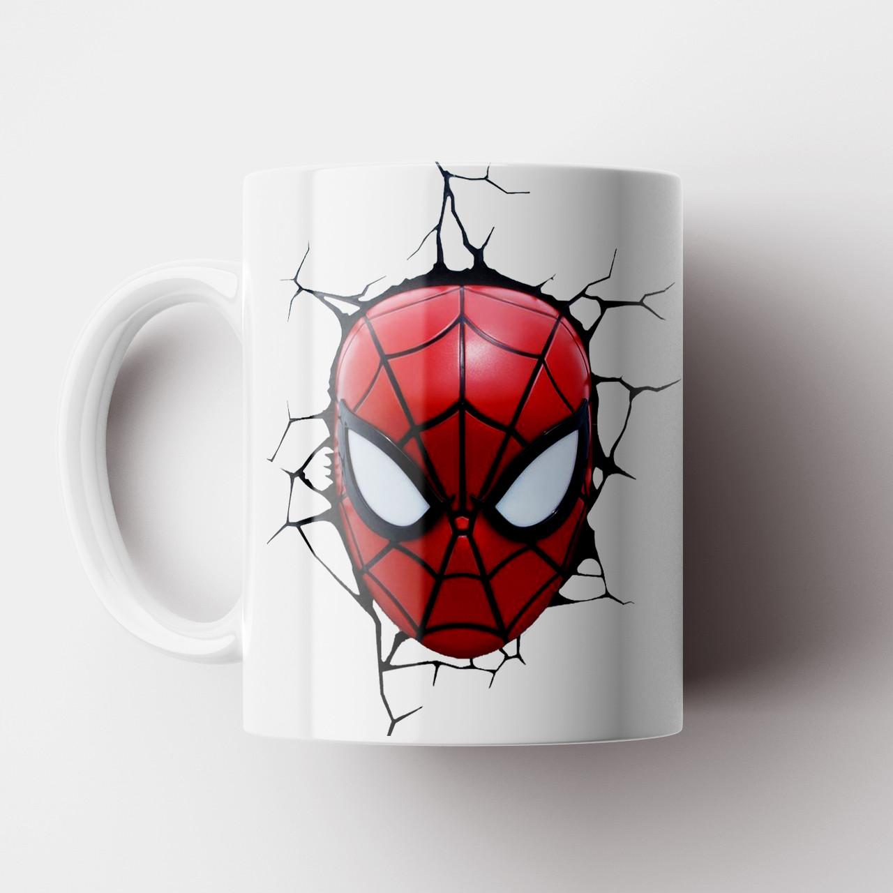 Кружка с принтом Человек паук. Чашка с принтом Spider-Man v12. Чашка с фото