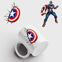Чашка з принтом Капітан Америка №5. Captain America art. Marvel. Чашка з фото, фото 1